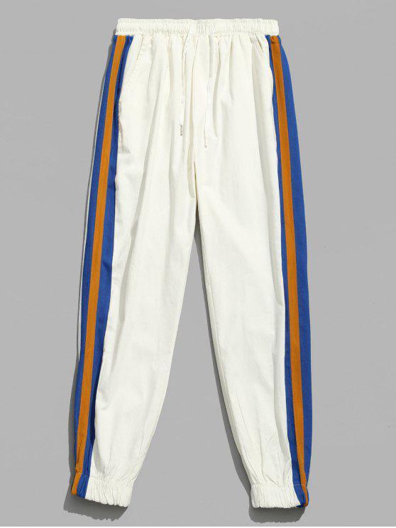Pantalon de Jogging Patchwork à Rayure Latérale - Blanc S