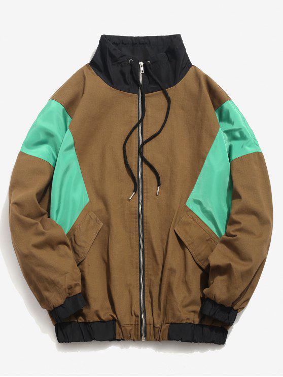 new Color Block Zip Fly Loose Jacket - WOOD M