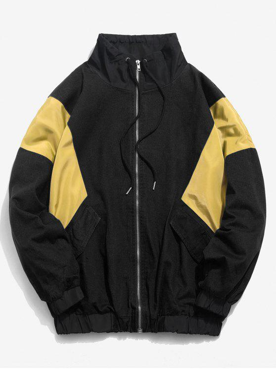 shop Color Block Zip Fly Loose Jacket - BLACK L
