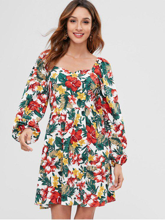 outfit ZAFUL Floral Print Mini Sweetheart Dress - MULTI XL