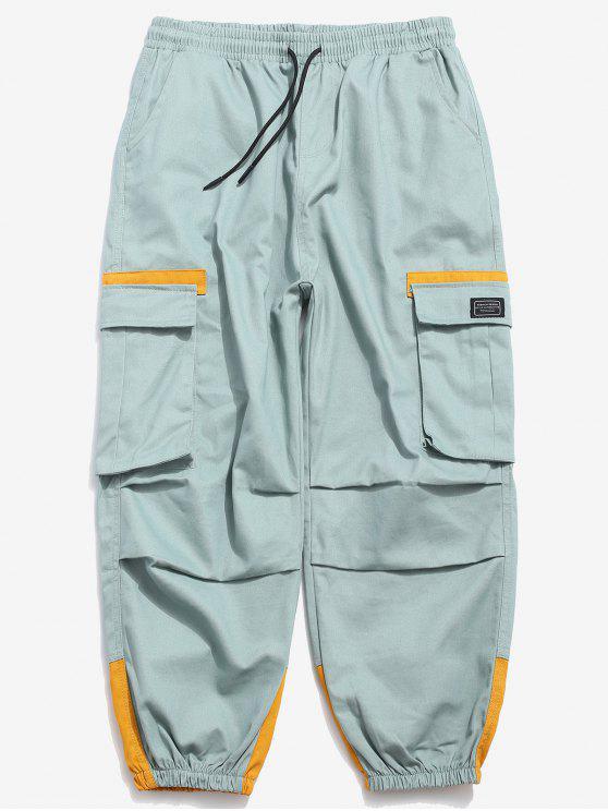 Farbe Block elastische Manschette Cargo Pants - Minzgrün M
