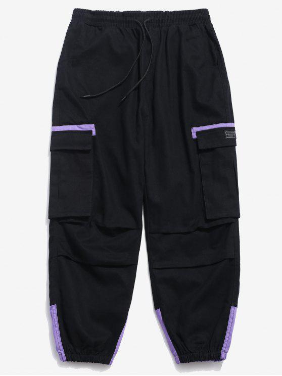 Pantalones cargo de bloque de color elástico puño - Negro XS