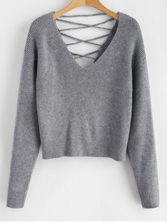 womens V Back Lace Up Sweater - GRAY S