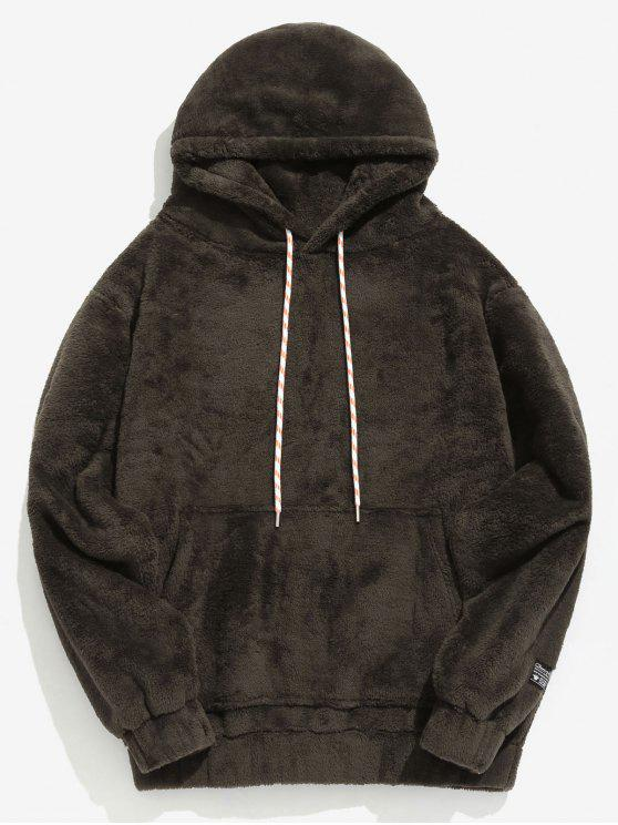 womens Solid Pouch Pocket Fluffy Hoodie - TAUPE S