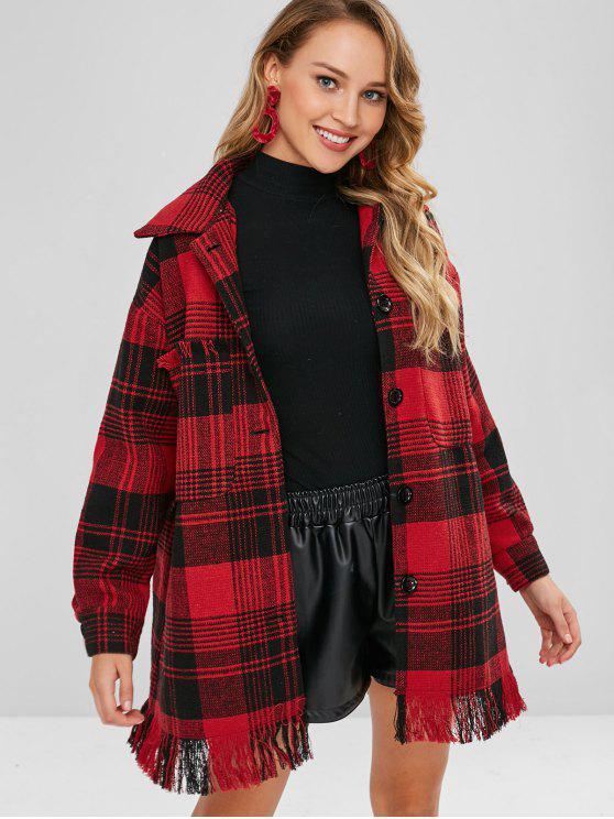 Manteau ample à carreaux orné de glands - Multi L