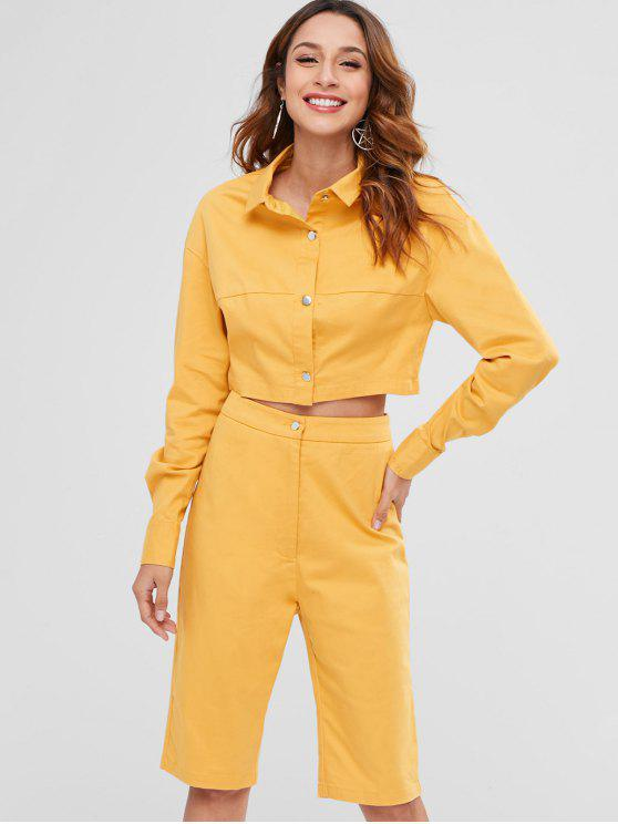 women ZAFUL Buttoned Crop Shirt and Shorts Set - MUSTARD XL