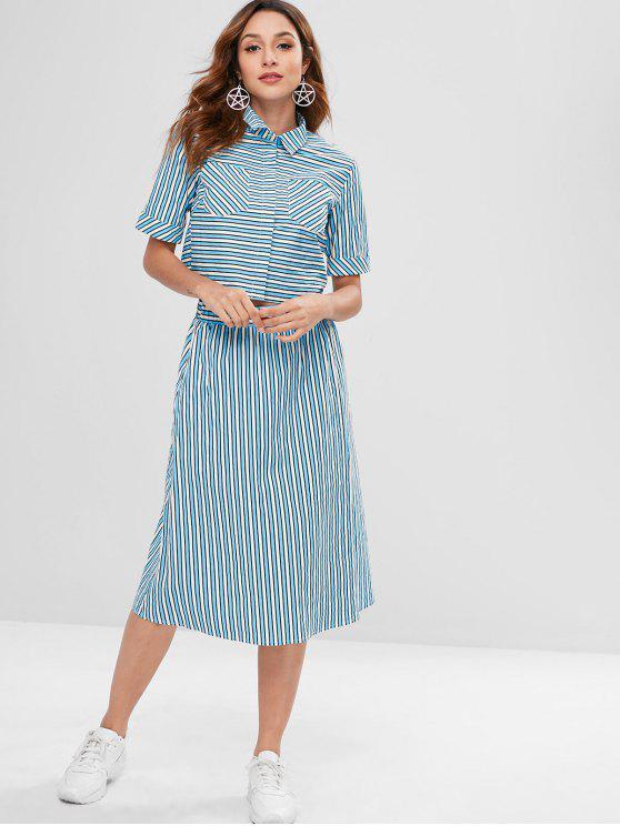 latest ZAFUL Striped Pocket Shirt and Skirt Set - LIGHT BLUE M