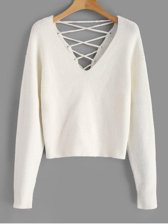 best V Back Lace Up Sweater - WHITE L