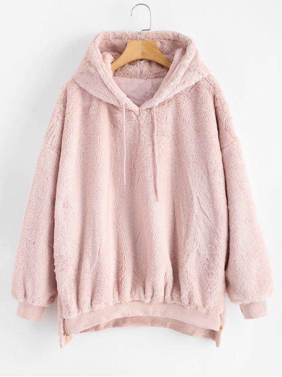 affordable Zipper Embellished Faux Fur Hoodie - PIG PINK ONE SIZE