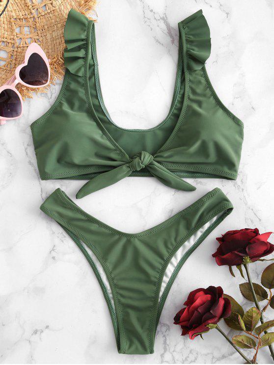 hot ZAFUL Ruffle Knotted High Leg Bikini Set - HAZEL GREEN M