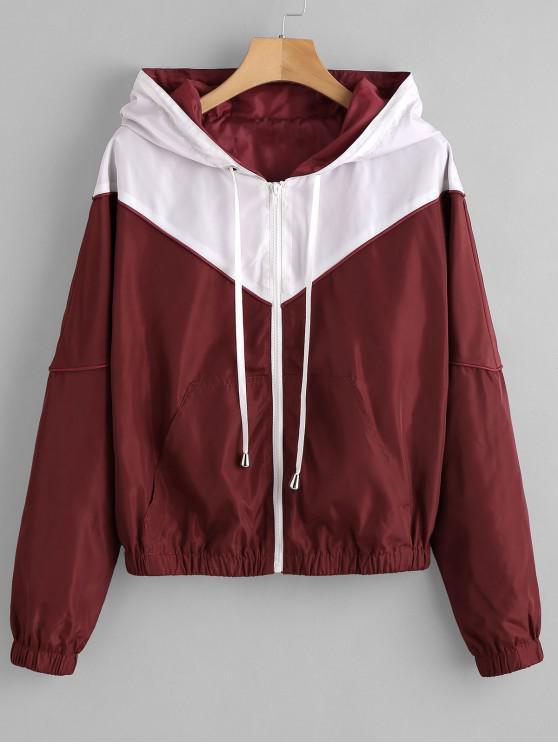 women ZAFUL Zip Up Two Tone Windbreaker Jacket - RED WINE S
