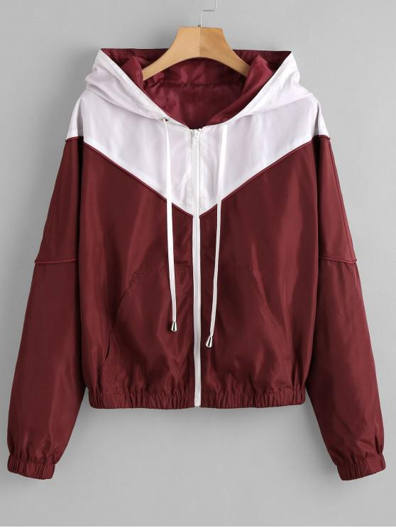 ladies ZAFUL Zip Up Two Tone Windbreaker Jacket - RED WINE M