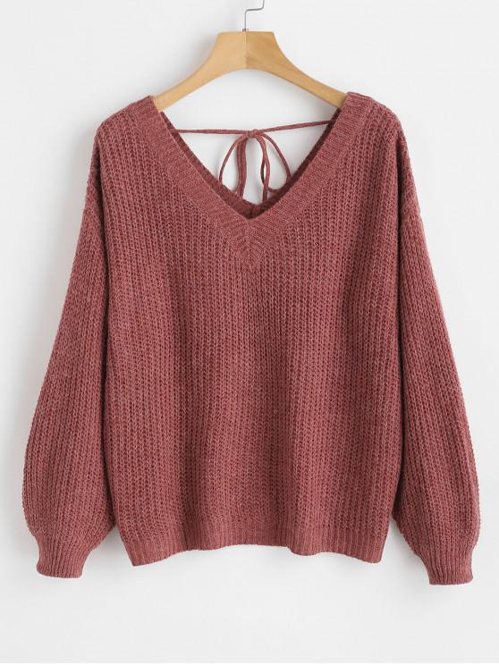 hot V Neck Drop Shoulder Oversized Sweater - RED WINE S