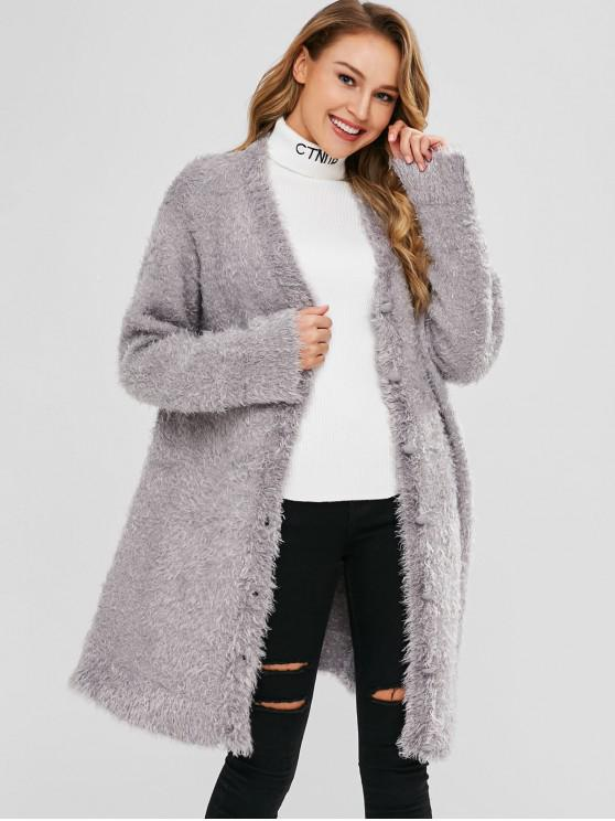 unique Fuzzy Button Up Cardigan - LIGHT GRAY ONE SIZE