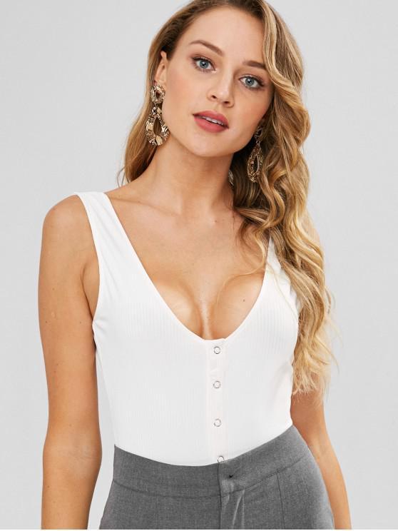 best ZAFUL Snap Button U Neck Ribbed Bodysuit - WHITE S