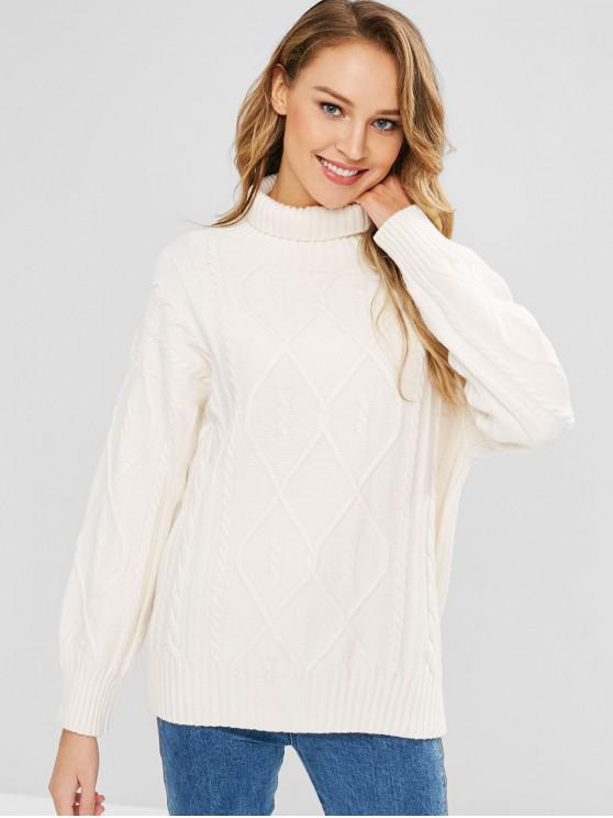 womens Cable Knit Turtleneck Jumper - WHITE ONE SIZE