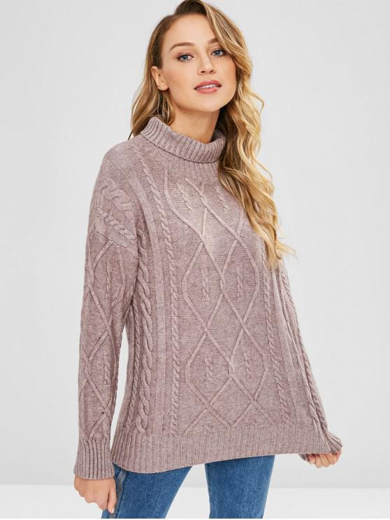 lady Cable Knit Turtleneck Jumper - DULL PURPLE ONE SIZE