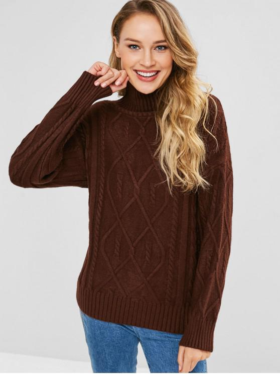 c8c1ee08b353 39% OFF  2019 Cable Knit Turtleneck Jumper In COFFEE