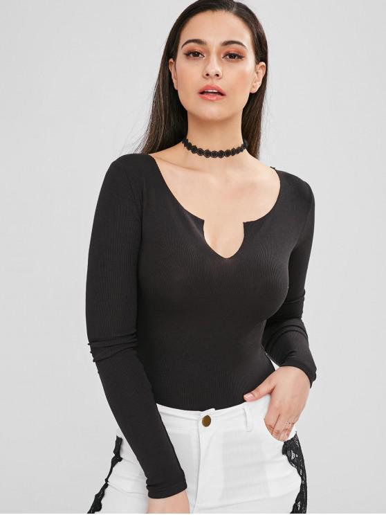 outfit Snap Crotch Ribbed Split Neck Bodysuit - BLACK M
