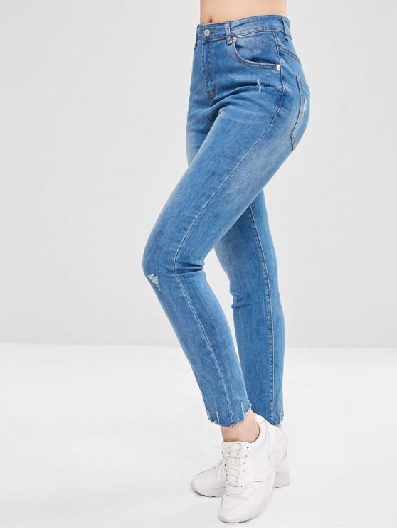 women Frayed Hem Ripped Jeans - JEANS BLUE XL