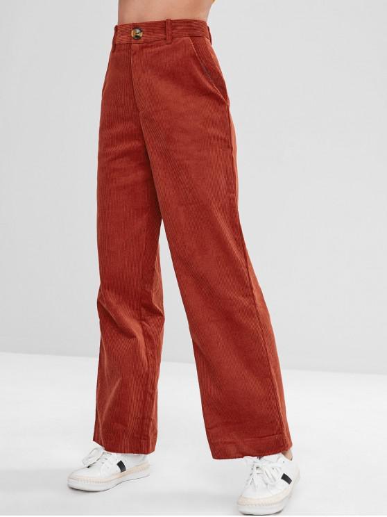 Pantalon Jambe Large à Taille Haute en Velours Côtelé - Châtaigne Rouge L