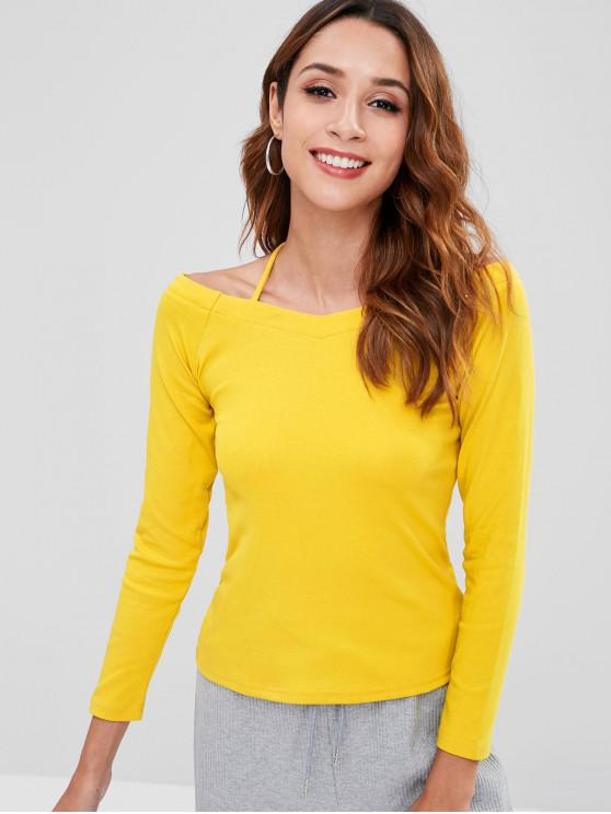 T-shirt Epaule Dénudée à Manches Longues - Jaune XL