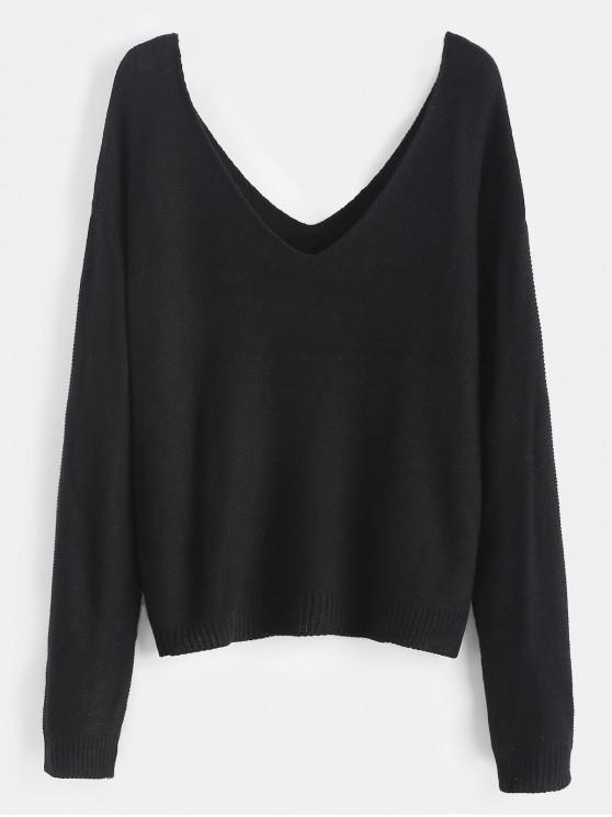 outfit Side Slit Drop Shoulder Sweater - BLACK ONE SIZE
