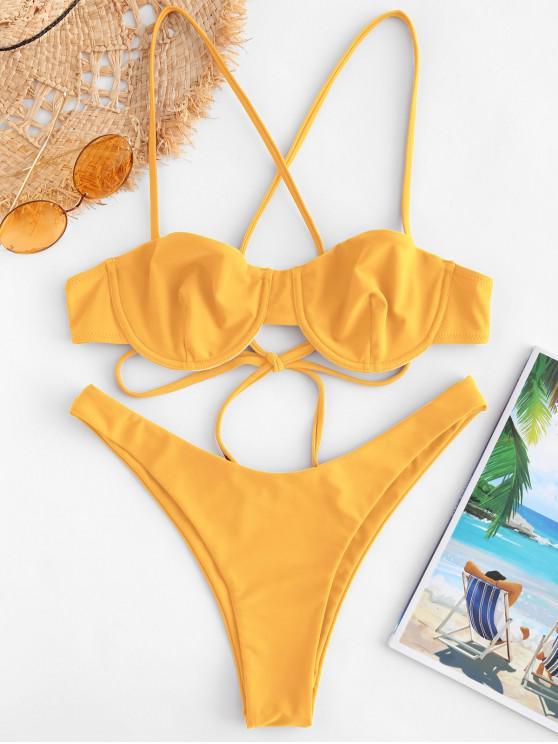ladies ZAFUL High Cut Criss Cross Bikini Set - BRIGHT YELLOW S