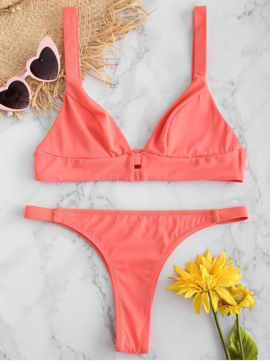 new ZAFUL Bralette Low Waist Bikini Set - WATERMELON PINK L