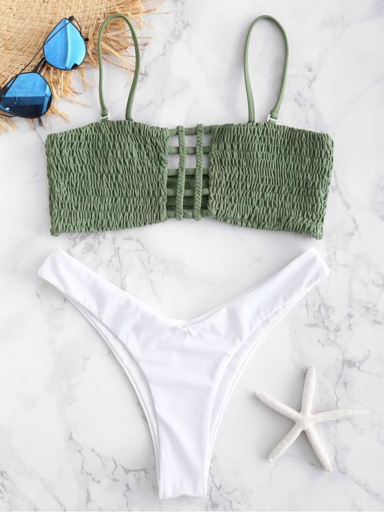 ZAFUL Bikini de Tanga con Estampado - Verde Marrón Claro S