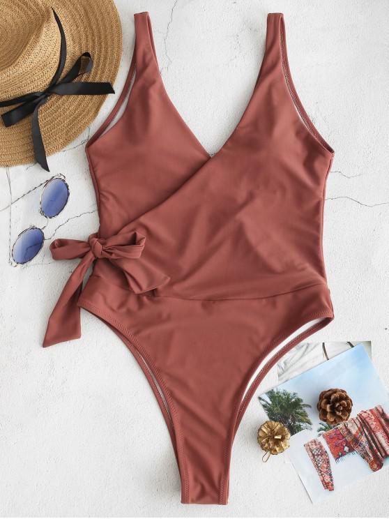 women's ZAFUL Side Tie Wrap One-piece Swimsuit - SEPIA L
