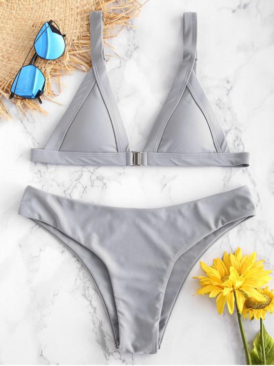 Bikini con Cierre de Zambullida Frontal ZAFUL - Gris S