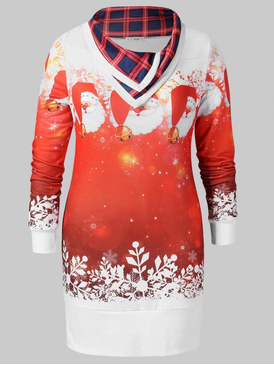 buy Christmas Plus Size Santa Claus Print Sweatshirt - WHITE L