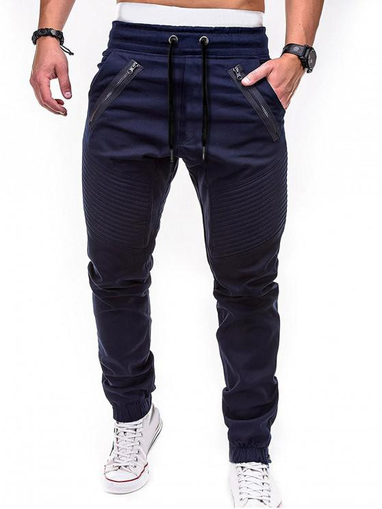 outfit Zippers Embellished Drawstring Jogger Pants - CADETBLUE L