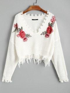 Pull Brodé Floral Effiloché à Col En V - Blanc