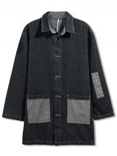 Patch Pocket Turndown Collar Denim Coat - Jet Black 3xl