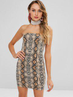 Strapless Snake Print Bodycon Dress - Multi L