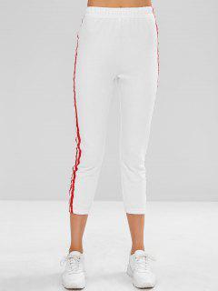 Side Stripe Sporty Ninth Leggings - White L