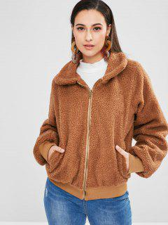 Zip Up Loose Fit Fluffy Coat - Madera S