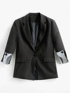 Faux Pockets Striped Lapel Blazer - Black M