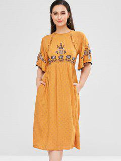 Flower Embroidery Openwork Dress - Multi L