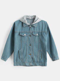 Letter Detachable Hooded Denim Jacket - Blue Koi L