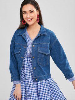Denim Button Up Shirt Veste - Bleu Foncé Toile De Jean S