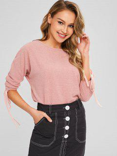 Ribbed Cinched Top - Light Pink S