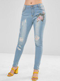 Embroidered Skinny Destroyed Jeans - Jeans Blue L