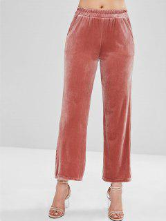 Shimmer Velvet Wide Leg Pants - Chestnut Red L