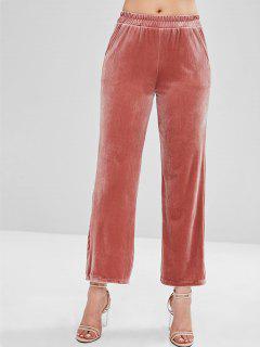 Pantalon Chatoyant à Jambe Large En Velours - Châtaigne Rouge Xl