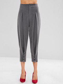 High Waisted Pleated Chino Pants - Gray M