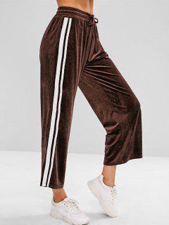 Side Stripe Velvet Wide Leg Pants - Deep Coffee M