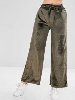 Drawstring Velvet Wide Leg Pants - Camouflage Green M